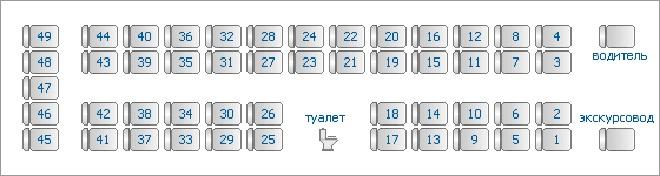 Расположение мест в автобусе