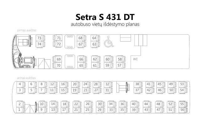 Схема расположения мест в салоне