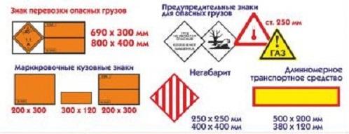 Знаки опасности при перевозке опасных грузов