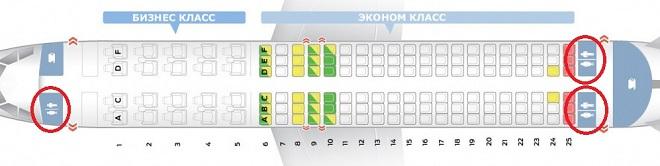 на фото, как располагаются санузлы в авиалайнере Туполев 204-100
